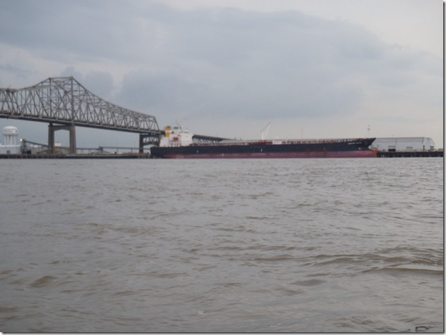 Cargo ship (can travel up to Baton Rouge). You can imagine the size of the ship if you compare it to the bridge.